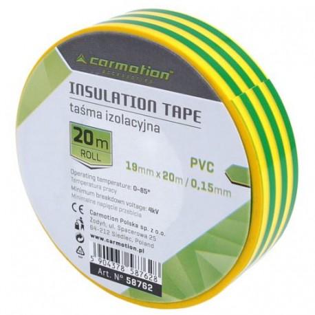 Taśma izolacyjna PVC 19mm x 20m zielono-żółta