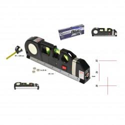 Poziomica laserowa krzyżowa z miarą i metrem 2,5m